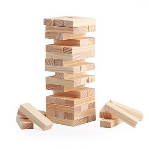 Wood Block Stacking Tower by WE Games — the most portable one due to a compact wooden box