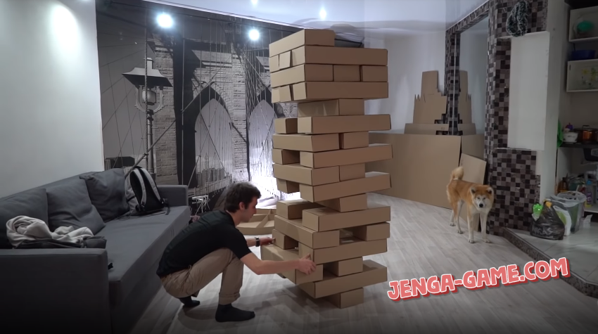 Human size Jenga Tower