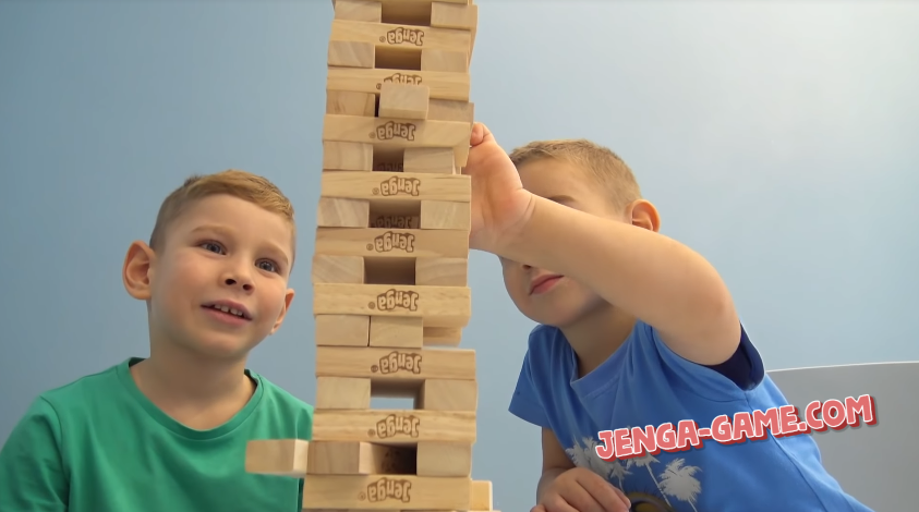 Boys are playing Jenga Game